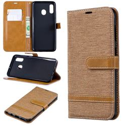 Jeans Cowboy Denim Leather Wallet Case for Samsung Galaxy A30 - Brown