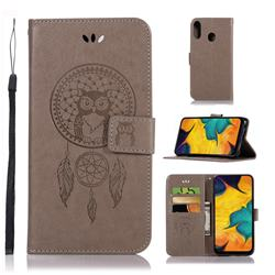 Intricate Embossing Owl Campanula Leather Wallet Case for Samsung Galaxy A30 - Grey