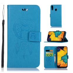 Intricate Embossing Owl Campanula Leather Wallet Case for Samsung Galaxy A30 - Blue