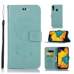 Intricate Embossing Owl Campanula Leather Wallet Case for Samsung Galaxy A30 - Green