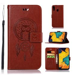 Intricate Embossing Owl Campanula Leather Wallet Case for Samsung Galaxy A30 - Brown