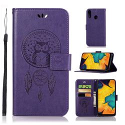 Intricate Embossing Owl Campanula Leather Wallet Case for Samsung Galaxy A30 - Purple