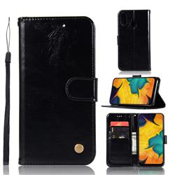 Luxury Retro Leather Wallet Case for Samsung Galaxy A30 - Black