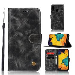 Luxury Retro Leather Wallet Case for Samsung Galaxy A30 - Gray