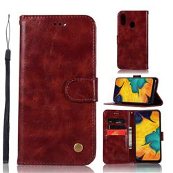 Luxury Retro Leather Wallet Case for Samsung Galaxy A30 - Wine Red