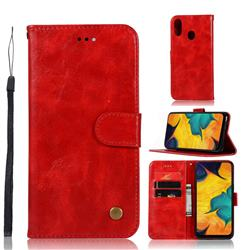 Luxury Retro Leather Wallet Case for Samsung Galaxy A30 - Red