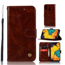 Luxury Retro Leather Wallet Case for Samsung Galaxy A30 - Brown