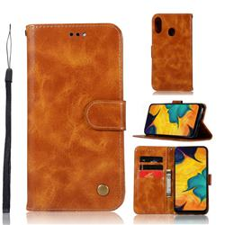 Luxury Retro Leather Wallet Case for Samsung Galaxy A30 - Golden