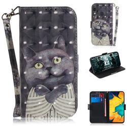 Cat Embrace 3D Painted Leather Wallet Phone Case for Samsung Galaxy A30