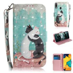 Black and White Cat 3D Painted Leather Wallet Phone Case for Samsung Galaxy A30
