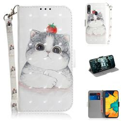 Cute Tomato Cat 3D Painted Leather Wallet Phone Case for Samsung Galaxy A30