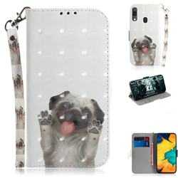 Pug Dog 3D Painted Leather Wallet Phone Case for Samsung Galaxy A30