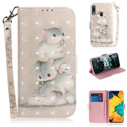 Three Squirrels 3D Painted Leather Wallet Phone Case for Samsung Galaxy A30