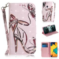 Butterfly High Heels 3D Painted Leather Wallet Phone Case for Samsung Galaxy A30