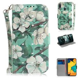 Watercolor Flower 3D Painted Leather Wallet Phone Case for Samsung Galaxy A30
