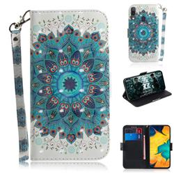 Peacock Mandala 3D Painted Leather Wallet Phone Case for Samsung Galaxy A30