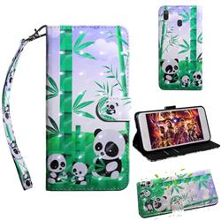 Eating Bamboo Pandas 3D Painted Leather Wallet Case for Samsung Galaxy A30