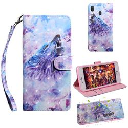 Roaring Wolf 3D Painted Leather Wallet Case for Samsung Galaxy A30