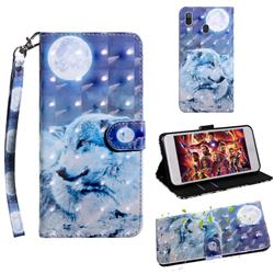 Moon Wolf 3D Painted Leather Wallet Case for Samsung Galaxy A30