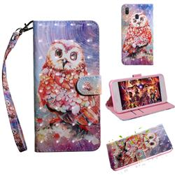 Colored Owl 3D Painted Leather Wallet Case for Samsung Galaxy A30