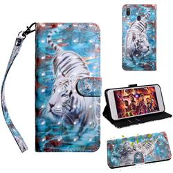 White Tiger 3D Painted Leather Wallet Case for Samsung Galaxy A30