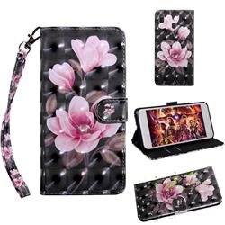 Black Powder Flower 3D Painted Leather Wallet Case for Samsung Galaxy A30