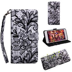 Black Lace Rose 3D Painted Leather Wallet Case for Samsung Galaxy A30