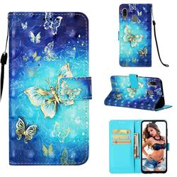 Gold Butterfly 3D Painted Leather Wallet Case for Samsung Galaxy A30
