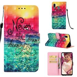 Colorful Dream Catcher 3D Painted Leather Wallet Case for Samsung Galaxy A30