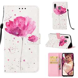 Watercolor 3D Painted Leather Wallet Case for Samsung Galaxy A30
