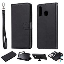 Retro Greek Detachable Magnetic PU Leather Wallet Phone Case for Samsung Galaxy A30 - Black