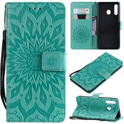 Embossing Sunflower Leather Wallet Case for Samsung Galaxy A30 - Green