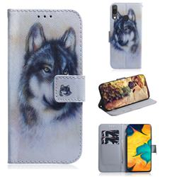 Snow Wolf PU Leather Wallet Case for Samsung Galaxy A30
