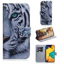 White Tiger PU Leather Wallet Case for Samsung Galaxy A30