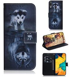 Wolf and Dog PU Leather Wallet Case for Samsung Galaxy A30