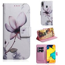 Magnolia Flower PU Leather Wallet Case for Samsung Galaxy A30