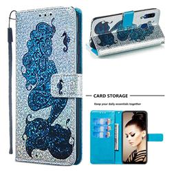 Mermaid Seahorse Sequins Painted Leather Wallet Case for Samsung Galaxy A30