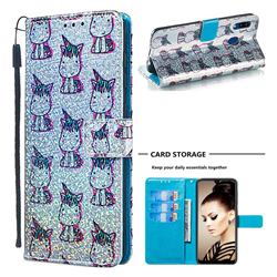 Little Unicorn Sequins Painted Leather Wallet Case for Samsung Galaxy A30