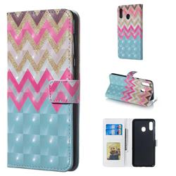 Color Wave 3D Painted Leather Phone Wallet Case for Samsung Galaxy A30