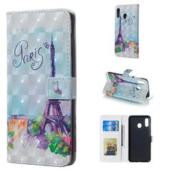 Paris Tower 3D Painted Leather Phone Wallet Case for Samsung Galaxy A30