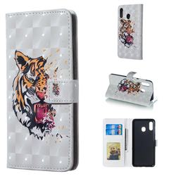 Toothed Tiger 3D Painted Leather Phone Wallet Case for Samsung Galaxy A30