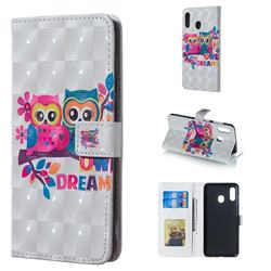 Couple Owl 3D Painted Leather Phone Wallet Case for Samsung Galaxy A30