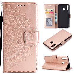 Intricate Embossing Datura Leather Wallet Case for Samsung Galaxy A30 - Rose Gold