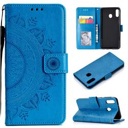 Intricate Embossing Datura Leather Wallet Case for Samsung Galaxy A30 - Blue