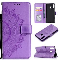 Intricate Embossing Datura Leather Wallet Case for Samsung Galaxy A30 - Purple