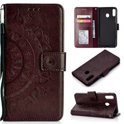 Intricate Embossing Datura Leather Wallet Case for Samsung Galaxy A30 - Brown