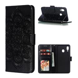 Intricate Embossing Datura Solar Leather Wallet Case for Samsung Galaxy A30 - Black
