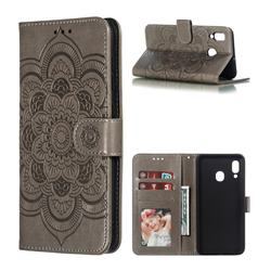 Intricate Embossing Datura Solar Leather Wallet Case for Samsung Galaxy A30 - Gray
