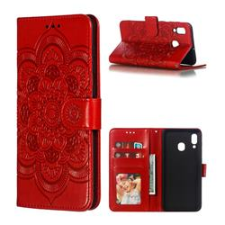 Intricate Embossing Datura Solar Leather Wallet Case for Samsung Galaxy A30 - Red