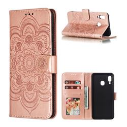 Intricate Embossing Datura Solar Leather Wallet Case for Samsung Galaxy A30 - Rose Gold